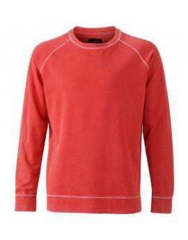 James & Nicholson Elegáns Férfi Kerek nyakú narancs színű pulóver