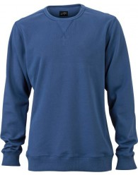 James & Nicholson Elegáns Férfi Kerek nyakú kék színű pulóver