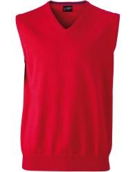 James & Nicholson piros színű Férfi V-nyakú ujjatlan pulóver