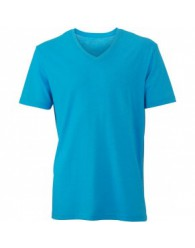 James & Nicholson türkiz színű Férfi V-nyakú póló